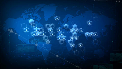 World map with honeycomb grid and lock security and futuristic concept CG動画素材
