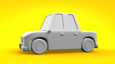 Car On Yellow Background Animation