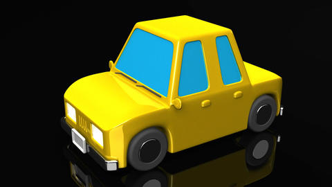 Yellow Car On Black Background Animation