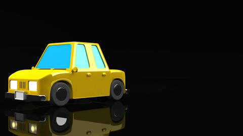Yellow Car On Black Text Space Animation