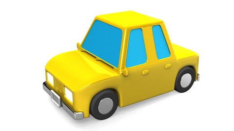 Yellow Car On White Background Animation