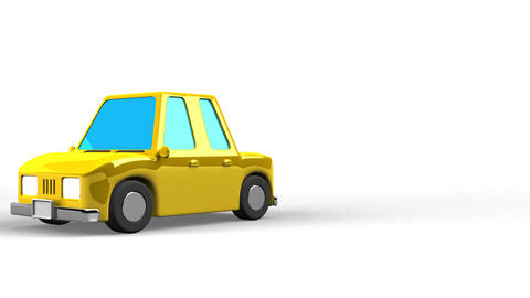 Yellow Car On White Text Space Animation