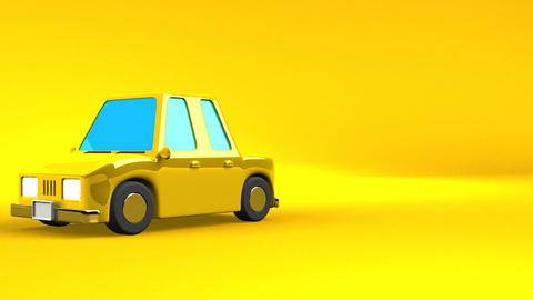 Yellow Car On Yellow Text Space Animation
