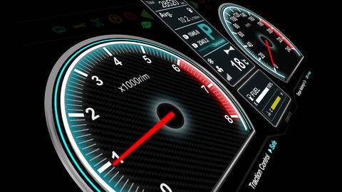 4K Animation of car dashboard speed rpm meter and automobile icon 004 Footage
