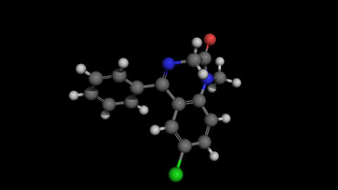 Diazepam (Valium) ball and stick molecule model rotating Animation