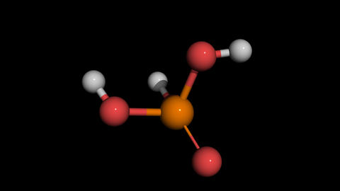 Phosphorid Acid ball and stick molecule model rotating Animation