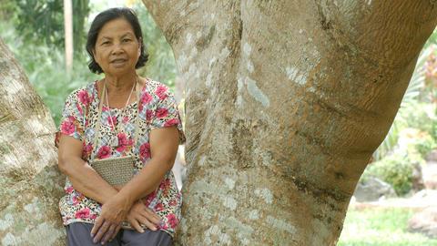 Thai Sonior Woman Sitting And Smiling Under Tree Archivo