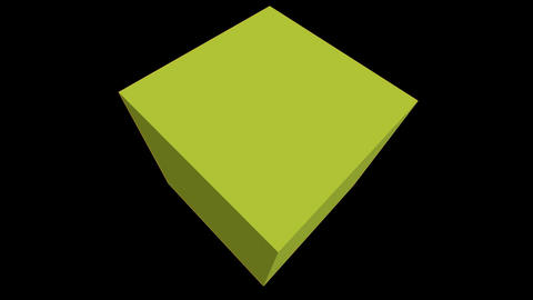 Spinning green cube Animation