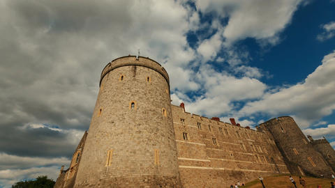Windsor Castle battlements in England, UK Footage