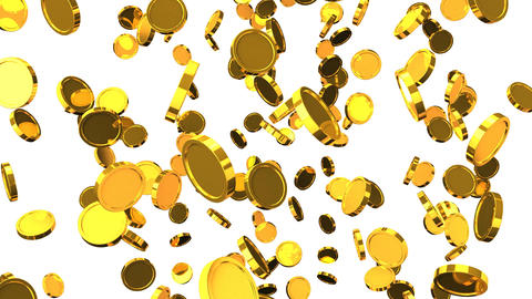 Falling Gold Coins On White Background Animation