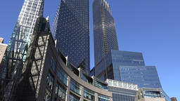 USA New York City Manhattan twin towers of Time Warner Center Footage