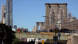 USA New York City Brooklyn Bridge seen from the east riverbank Footage