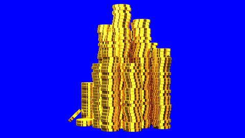 Gold Coins On Blue Chroma Key Animation