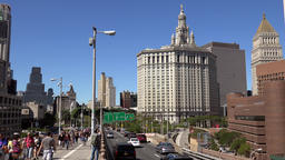 USA New York City Manhattan Borough President's Office from Brooklyn Bridge Image