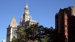 USA New York City Manhattan roof of city hall on Broadway in downtown Footage