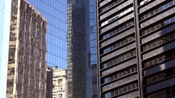 USA New York City Manhattan financial district glass facade and mirror image Footage