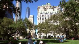 USA New York City Manhattan buildings seen through trees in Battery Park ビデオ