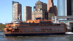 USA New York City Lower Manhattan skyline behind Staten Island ferry Footage