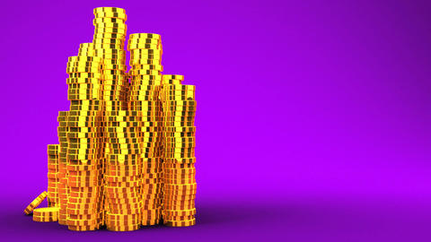 Gold Coins On Purple Text Space Animation