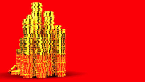 Gold Coins On Red Text Space Animation