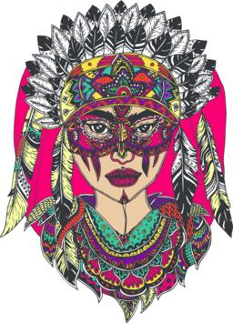 Woman in a headdress. Hand-drawn asian woman's head patterned with color ethnic  Vektor
