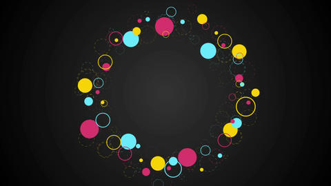 Colorful retro circles abstract hipsters video clip Animation