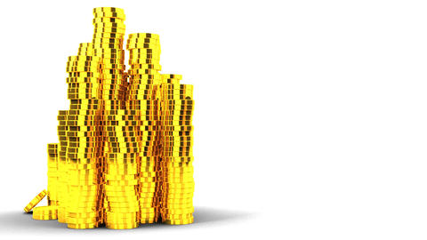Gold Coins On White Text Space Animation