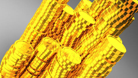 Gold Coins On White Background CG動画