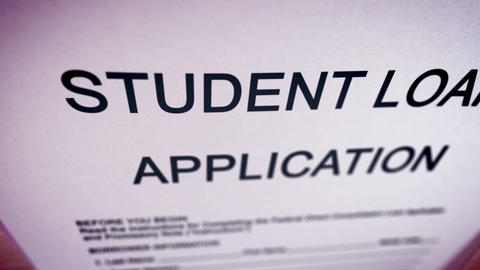 Blank student loan application on a paper sheet Animation