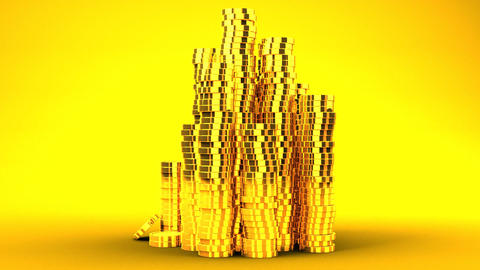 Gold Coins On Yellow Background Animation
