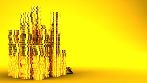 Gold Coins On Yellow Text Space Animation