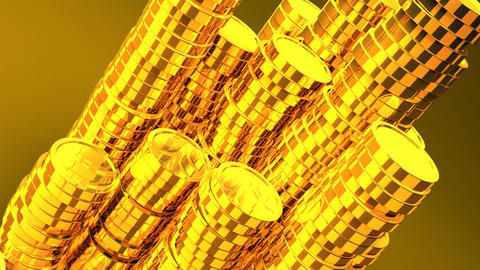 Gold Coins On Yellow Background CG動画素材