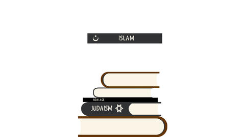 Books of Different Religions in a Pile in Alpha Channel Image