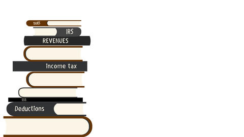 Tax Books are Falling into a Pile in Alpha Channel Filmmaterial