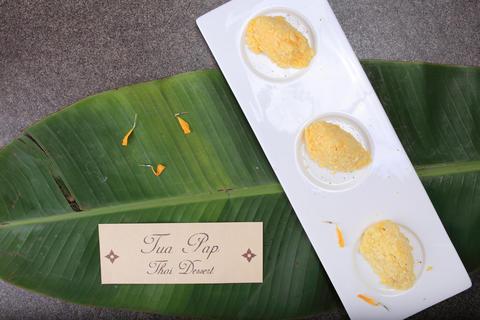"Thai dessert ""Tua Pap"" (Peanut Rice Cake) Fotografía"