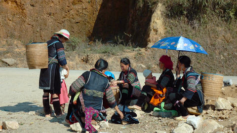 Street scene with local Hmong people Footage