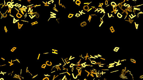 Gold Alphabets On Black Background Animation