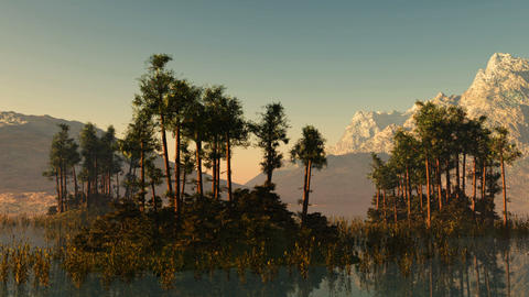 trees on mountain lake islands. sunset with sunbeams Animation