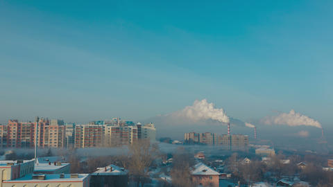Smoke and fog over the city Footage