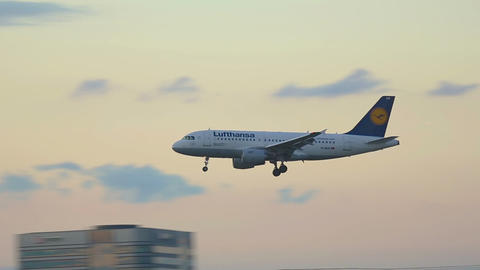 Airbus 319 Approaching In Dusk stock footage