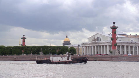 View of Vasilevsky island in Saint-Petersburg from Neva river in summer day Footage