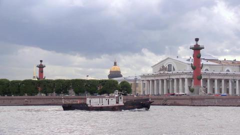 View of Vasilevsky island in Saint-Petersburg from Neva river in summer day Footage