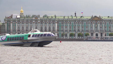 Tourist Meteor floats Neva river in Saint Petersburg. Hermitage on a background Footage