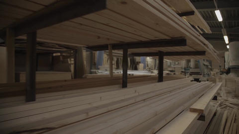 View of a manufactory with many wooden boards in furniture factory Footage