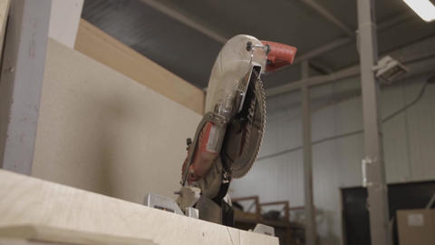 View of a circular saw in furniture factory Footage