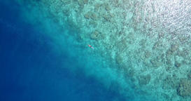 v06464 Aerial flying drone view of Maldives white sandy beach young people snork Footage