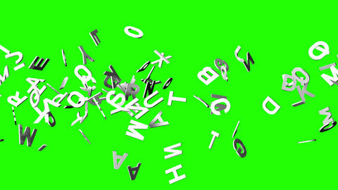 White Alphabets On Green Chroma Key Animation