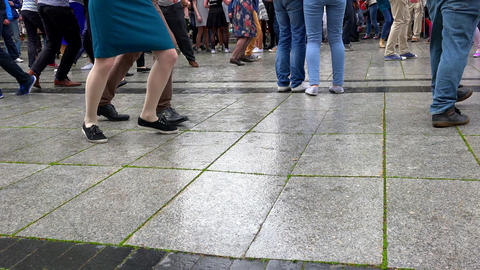 street dancers legs perform lindyhop dance on street music day Footage