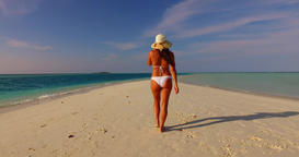 v07842 Maldives white sandy beach 1 person young beautiful lady sunbathing alone Live Action