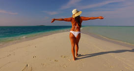 v07844 Maldives white sandy beach 1 person young beautiful lady sunbathing alone Footage